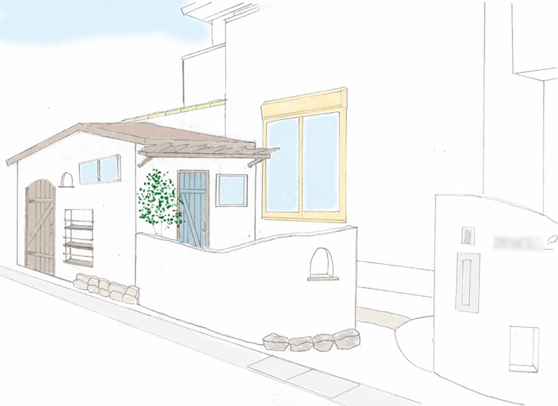 自転車置き場プラスサンルームの小屋